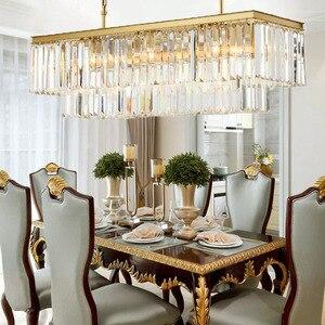 Image 3 - Candelabros cuadrados de cristal dorado para restaurante, comedor, dormitorio, sala de estar, bombillas LED