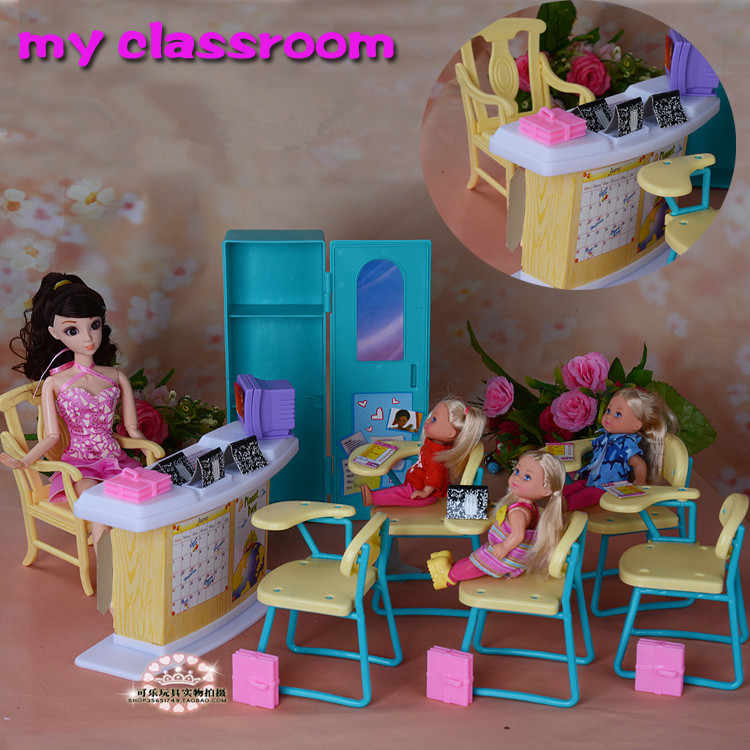 Kindergarte Classroom Set chairs + blackboard doll accessories doll house baby girls DIY toys Doll furniture set for barbie doll