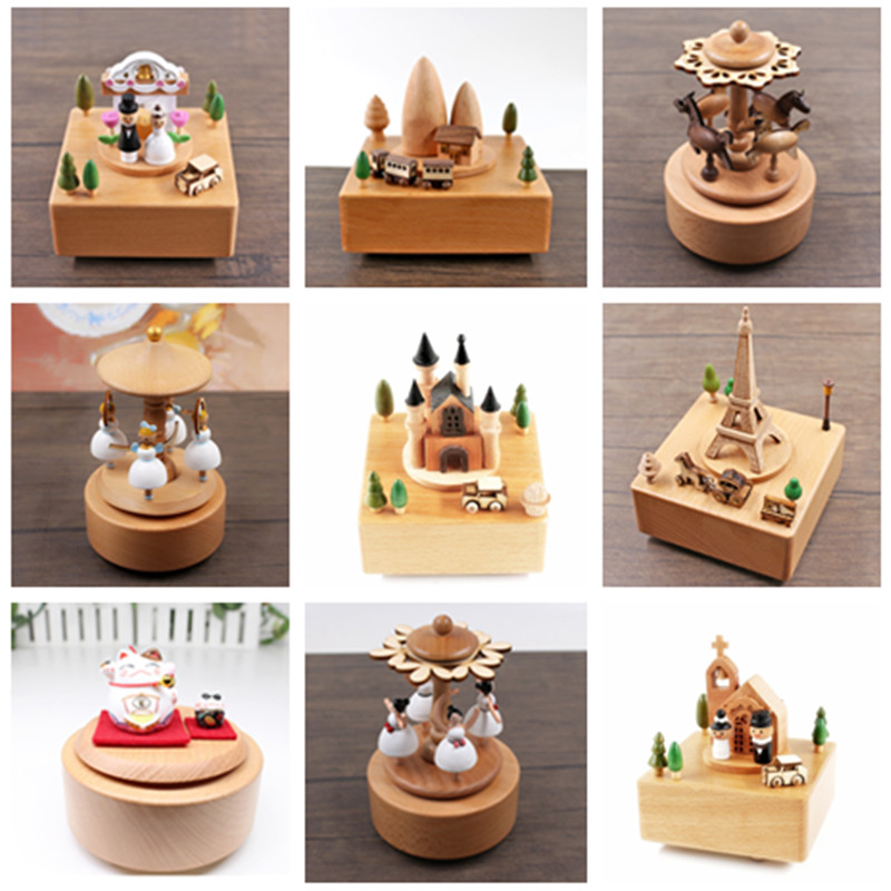 Quality Wooden Music Box Creative Gift For Kids Musical Carousel Ferris Wheel Boxes Boxs Navidad Decorations For Home GPD8484
