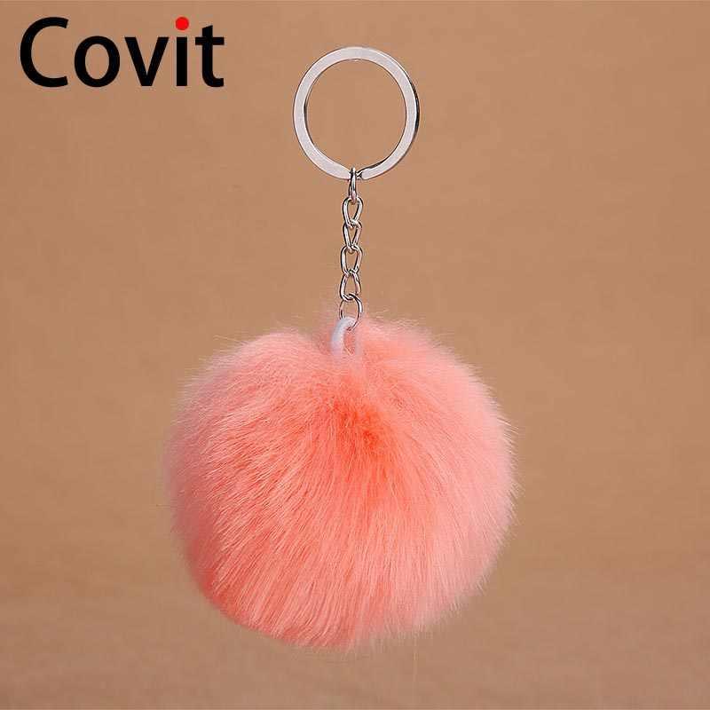 LLavero de piel de conejo mullido caliente de Covit con llavero de piel de conejo Artificial pompón para mujer bolso de coche llavero nuevo regalo de Año