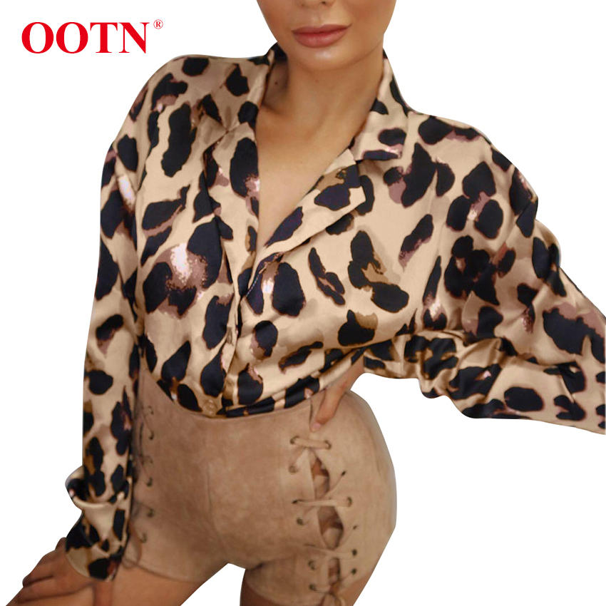 cd979a2af7ab2 OOTN Sexy Leopard Print Tops Womens Long Sleeve Satin Blouse Spring Autumn  Slip Silk Shirt Female Notched Collar Fashion Blouses