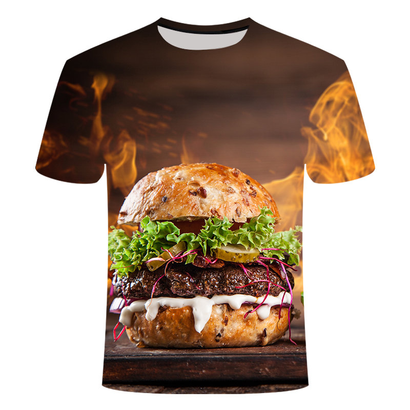 2019 Harajuku Summer Food Hamburger 3d Print Casual T-shirt Burger Tops  Funny T-shirt Unisex Ropa Hombre Casual Hamburger Shirt