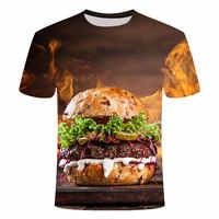 2019 Harajuku verano comida hamburguesa 3d impresión Casual camiseta hamburguesa tops divertida camiseta unisex ropa hombre casual hamburguesa camisa