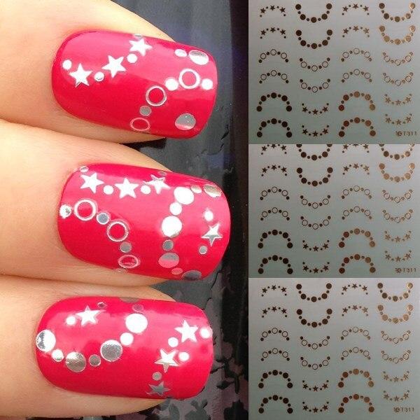 Nuevo diseño estrella de plata círculo uñas brillantes mujeres del ...