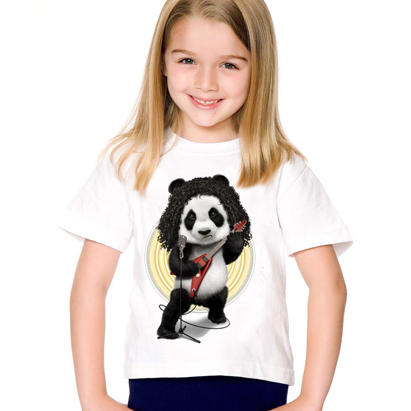 Fashion Print Rocker Panda Children T-shirts Kids Funny Summer Short Sleeve T Shirt Boys/girls Casual Tops Baby Clothing,hkp2033 Fashionable And Attractive Packages