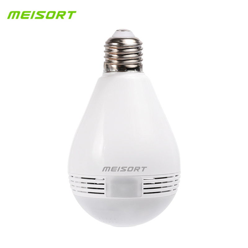 Meisort Bulb LED Light Wifi IP Camera 960P Fisheye Camera 360 degree CCTV VR Camera Home Security Panoramic Camera Night Vision wifi ip bulb camera 360 fisheye panoramic bulb camera 1 3mp 960p cctv video surveillance wifi security camera