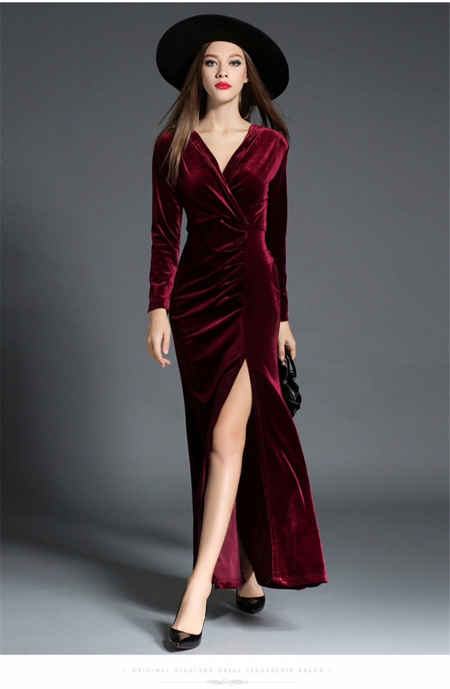 17 Autumn Winter Evening Party Dresses Red Velvet Dress Women Sexy High Split Long Maxi Dresses Christmas Runway Vestido Longo 12