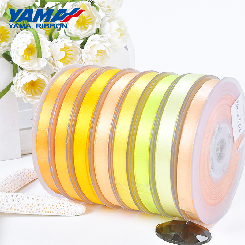 YAMA Ribbons 3mm 500yards lot Double Face Satin Ribbon Satijn Lint Yellow for Party Wedding Decoration Handmade Rose Flowers in Ribbons from Home Garden