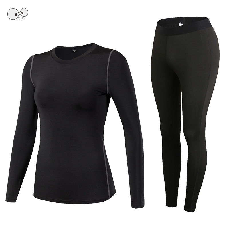 New Arrival Compression Women Athletic Gym Yoga Clothes Quick Dry Running Fitness Long Sleeve Sports Shirts + Tights Pants Sets