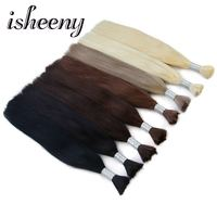 Isheeny Braiding Remy Straight Bulk Hair Extensions 22 inches Original Remy European Hair Velvet Cuticle Weave Hair 100g