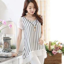 hot deal buy s-5xl new women's chiffon t-shirt summer 2018 fashion stripe irregular loose t-shirt casual lace mesh tops tees female plus size