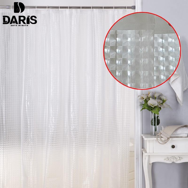 DARIS Plastic PEVA 3d Waterproof Shower Curtain Transparent White Clear Bathroom Luxury Bath With