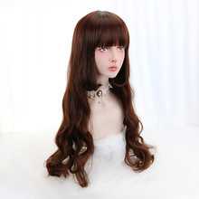 Free Beauty Long Wavy Wigs Synthetic Hair Brown Lolita Cosplay Wig with Blunt Bangs for Women Halloween Party Costume