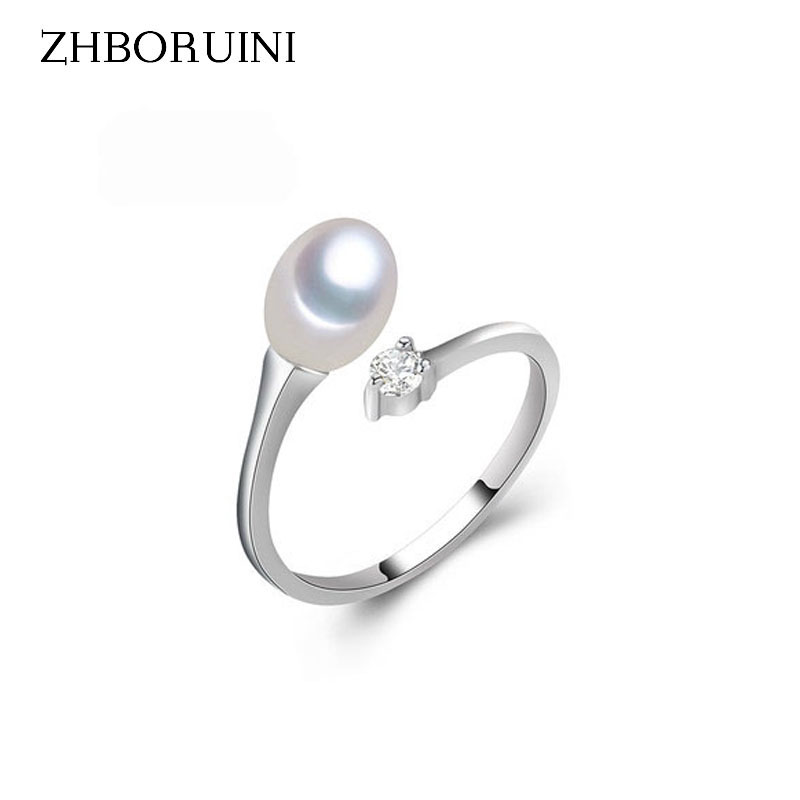 ZHBORUINI 2019 Fashion Pearl Ring Jewelry Of Silver Water Drop Ring Freshwater Pearl Rings 925 Sterling Silver Rings For Women