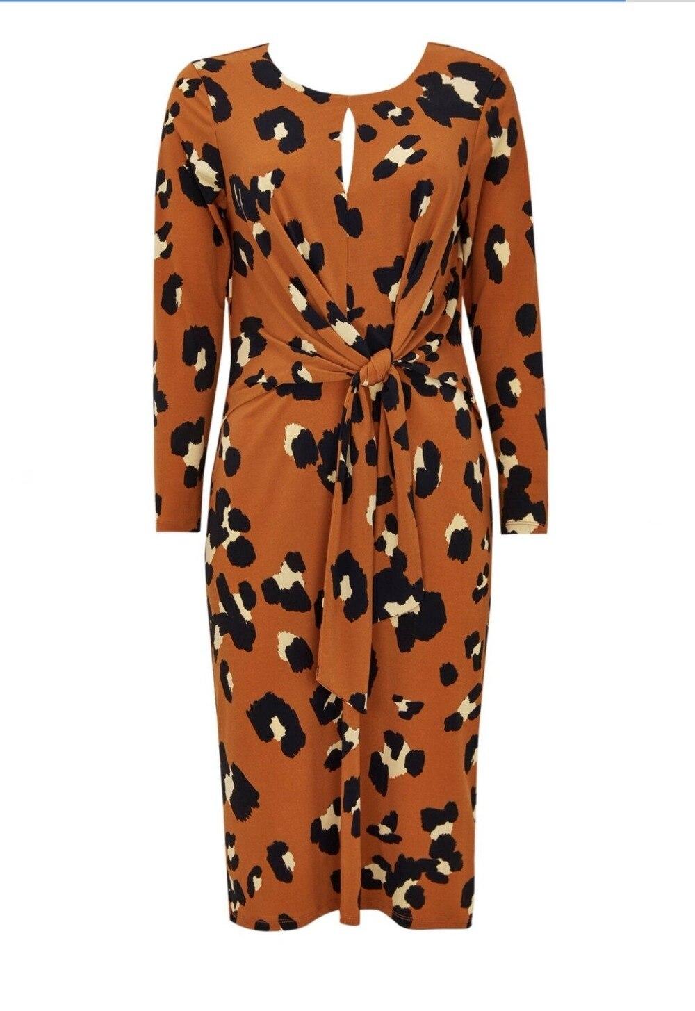 Women Leopard Print Mid Calf Length Dress Puttee Sashes Long Sleeve