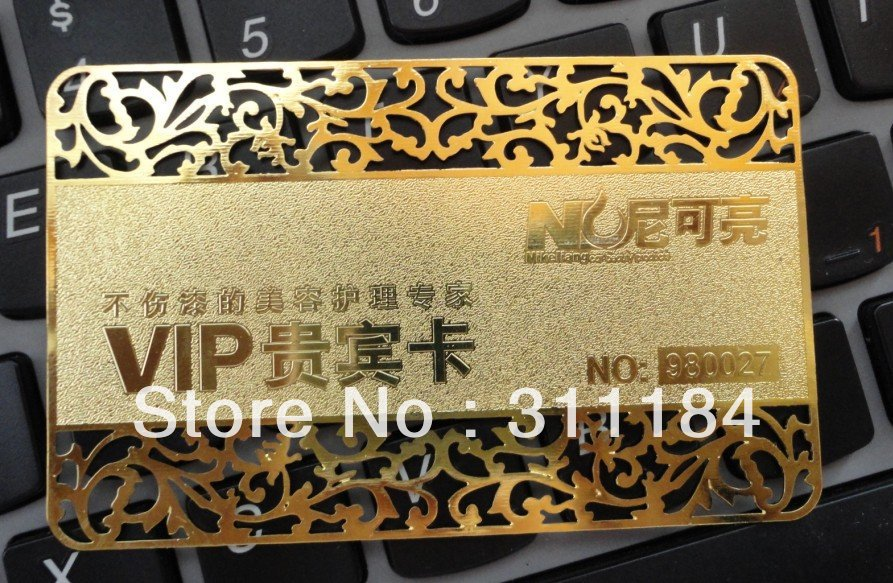 custom Golden metal business card printing Etched stainless steel ...