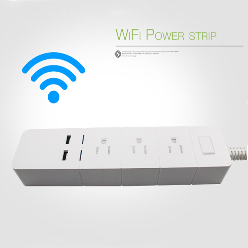 US Smart 2 USB 1 8M Extension Cord Plug Wifi Remote Control Timer Switch Wireless Plug Smart Home Patch Panel US Standard Socket in Smart Power Socket Plug from Consumer Electronics