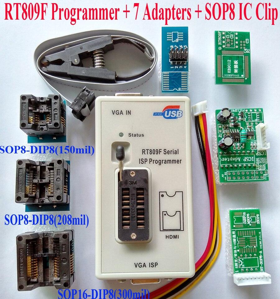 Programmeur RT809F + 7 adaptateurs + pince à clip SOP8 IC VGA LCD programmeur usb carte ICSP 24 25 93 serise IC outils de réparation d'ordinateur portable