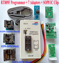 RT809F programmer + 7 Adapters + IC clip clamp + VGA LCD programmer + ICSP board 24 25 93 serise IC Free Shipping Original