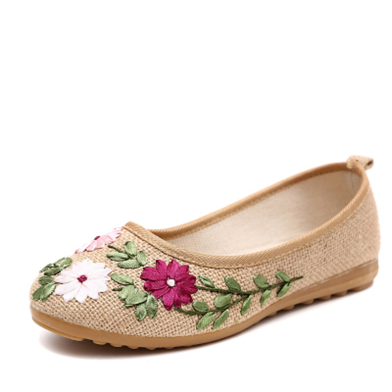 Plus Size 34-41 Women Casual shoes Embroider Fabric Flower Flats Slip-On Comfortable Round Student Flat Ballet Woman shoes 242 sorbern khkai flat shoes women round toe custom plus size 34 46 zapatos mujer flat heels ballet flats slip on shoes for women