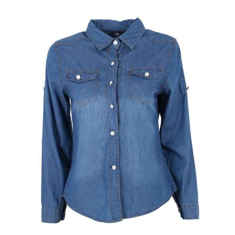 8d7f627a81 Women Lapel Button Blue Down Denim Jean Shirt Female Casual Pocket Slim Top  Coat Hot Wear