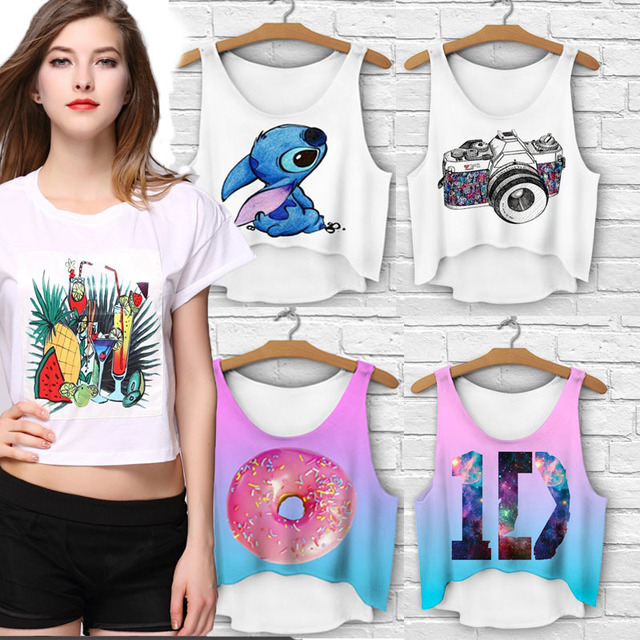 e1aaf99fb Fashion Sexy Crop Top T-shirt Women Harajuku Cropped Top T-shirt Beach Cover
