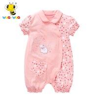 Wua для маленьких мальчиков летнее Комбинезоны для малышек Детские Цветочные Комбинезоны для женщин розовый детский костюм хлопок Одежда дл...