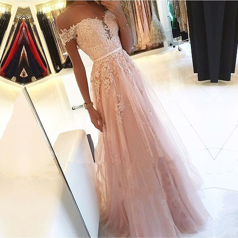 Pink 2020   Prom     Dresses   A-Line Off the Shoulder Sweetheart Beaded Lace Tulle Long   Prom   Gown Evening Party   Dresses   Robe De Soiree