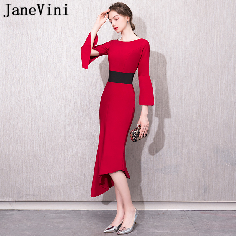 JaneVini 2018 Simple Red Satin   Bridesmaid     Dresses   for Weddings 3/4 Long Sleeves Zipper Back Tea-Length Mermaid Long Prom Gowns