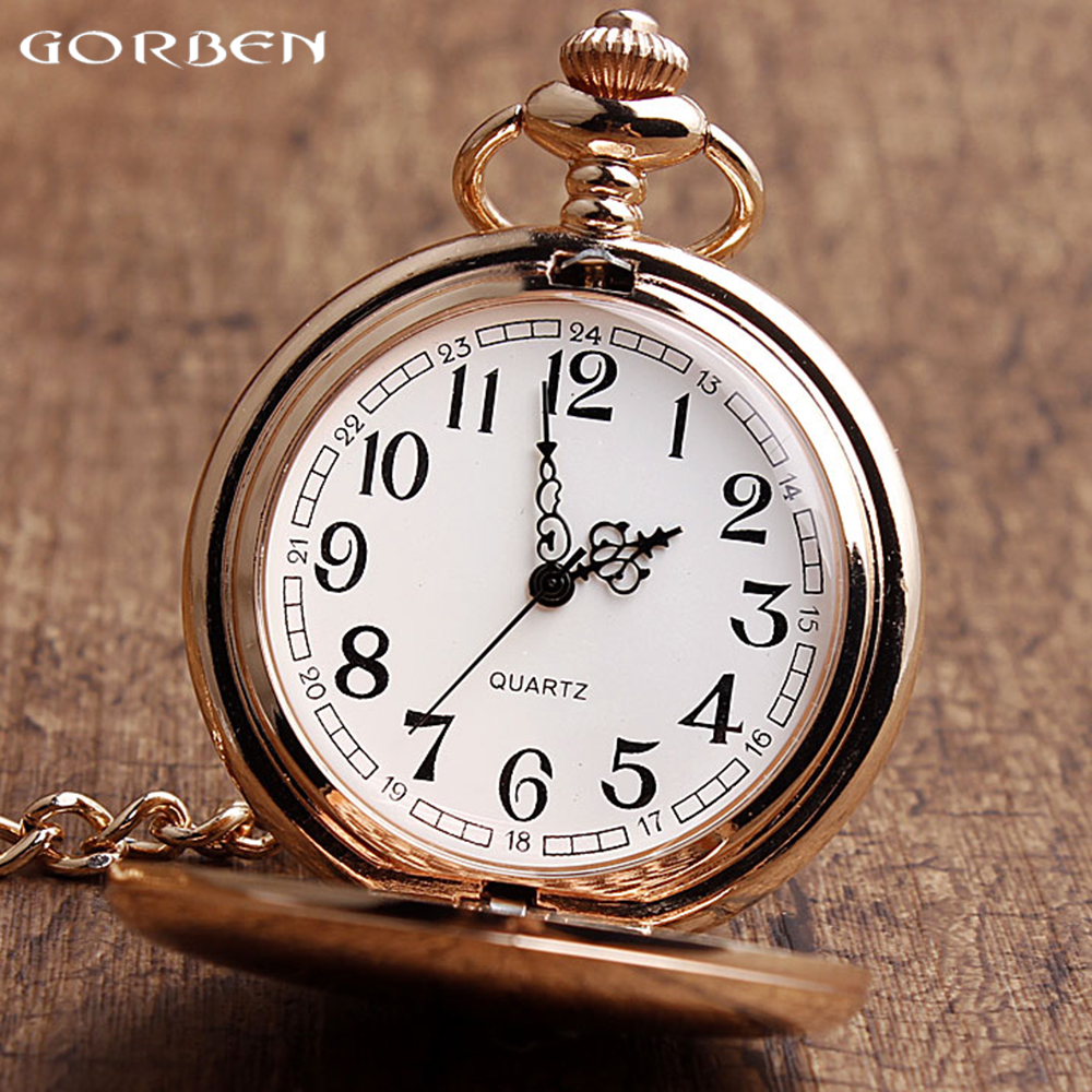 New Arrival GORBEN Watch Rose Gold Polish Quartz Pocket Watch Fashion Unisex Watches Fob Chain Necklace Exquisite Gifts With Box gorben watch retro quartz pocket watch eagle steampunk pattern big size men pocket watch with fob chain necklace excellent gifts