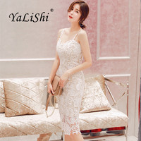 2018 Summer Womens High Quality Dress White Spaghetti Strap Sexy Party Dress Bandage Vintage Bodycon Vestidos Lace Pencil Dress