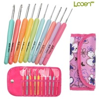 Brand Looen Mix 10pcs Crochet Hooks Knitting Needles Multi Color Soft Plastic Grip Handle Weave Craft with Rose Bag For Women