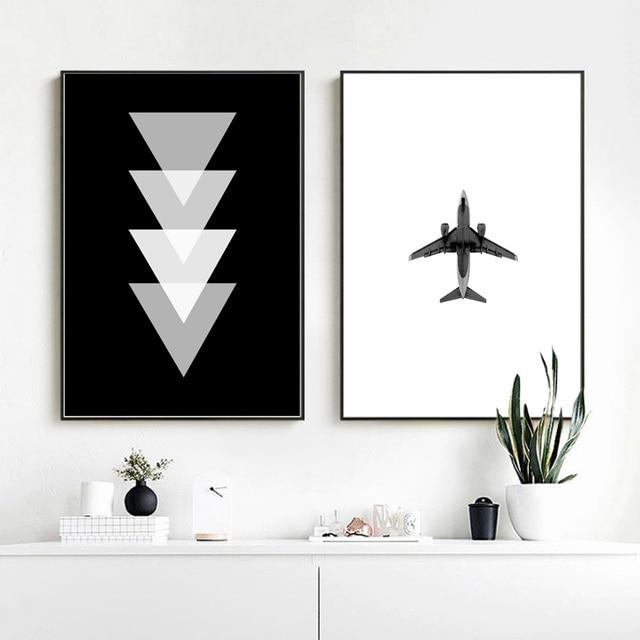Airplane Geometric Black White Poster Nordic Wall Art