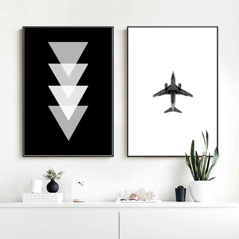 Wall Art Print Airplane Geometric Black White Poster Nordic Wall Art Print Canvas Picture Paintings For Living Room Wall Decor image