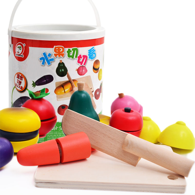 Children Kids Educational Wooden Kitchen Toys Set Funny Cutting Fruit Vegetable Pretend Toys cuisine enfant cocina juguete W150 ...
