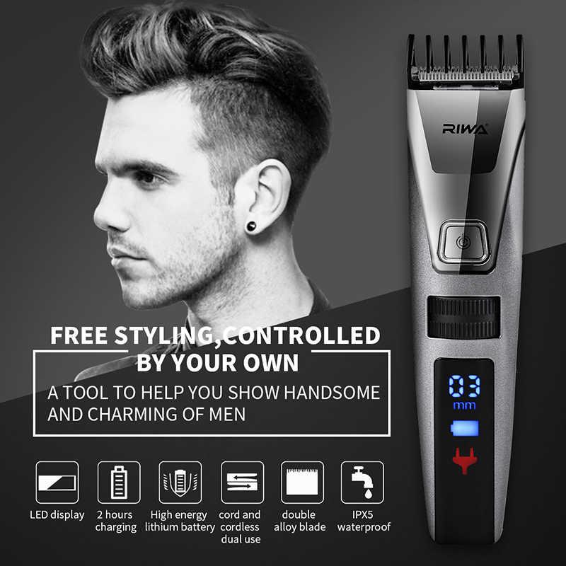 毛トリマー液晶男性のバリカン充電式 Biuld イン櫛デザイン散髪機電気シェーバー髭トリマー高速 charge50