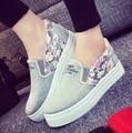 Цветочные Холст обувь горячие продажа 2016 мода Аппликации slipony женская обувь увеличение высоты девушка женский комфорт slipon женская обувь