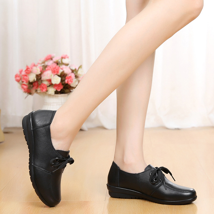 Image 3 - DONGNANFENG Women Old Female Ladies Mother Flats Shoes loafers Cow Genuine Leather Lace Up Non Slip Soft Casual 35 41 HD 226Womens Flats   -