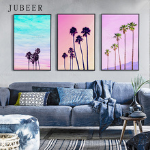 Coconut Tree Canvas Painting Skyline Poster Pink Sky Picture Decoration Living Room Wall Art Modern Nordic Style Home Decor