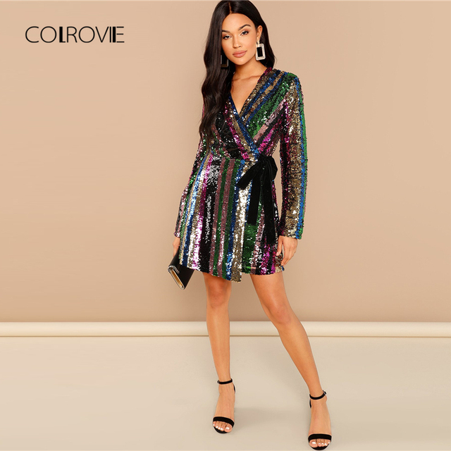 Color Block Wrap Sequin Sexy Dress Women 2018 Autumn Long Sleeve ... 81f59affa1a3