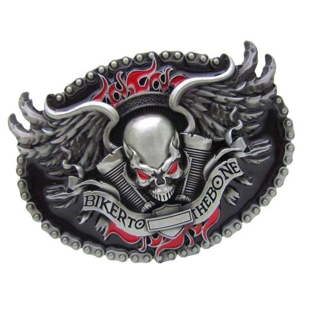 Biker to the bone belt buckle
