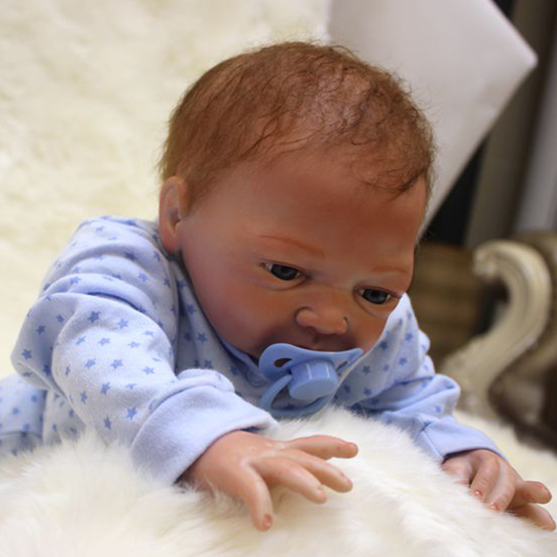 Image 5 - Nicery 20inch 48 50cm Bebe Doll Reborn Soft Silicone Boy Girl Toy Reborn Baby Doll Gift for Blue Clothes-in Dolls from Toys & Hobbies