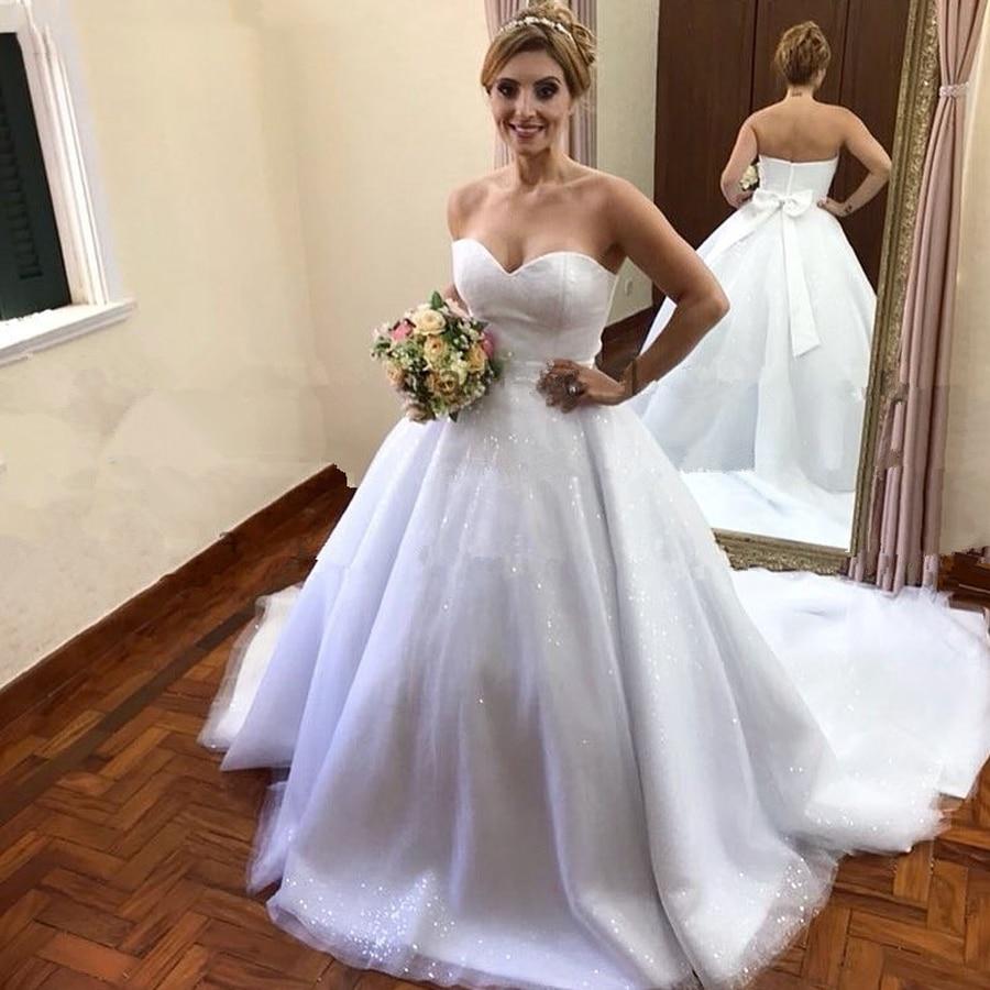 Sweetheart Ball Gown Princess Wedding Dresses Bling Bling Tulle With Bow Belt Bridal Dress Vestido De Noiva Robe De Mariee