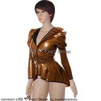 Bronze With Black Sexy Latex Jackets With Frills Puff Sleeves Buttons At Front Rubber Dress Plus Size YF 0047
