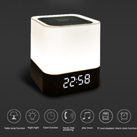 Hot Household Alarm Clock Wireless Bluetooth 4.0 Portable Speaker AUX Audio LED Night Lamp