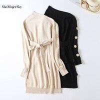 SheMujerSky Autumn Women Sweater Dress Sexy One Shoulder Buttons Long Sleeve Woman Dress With Belt Dresses Femme jurk 2019