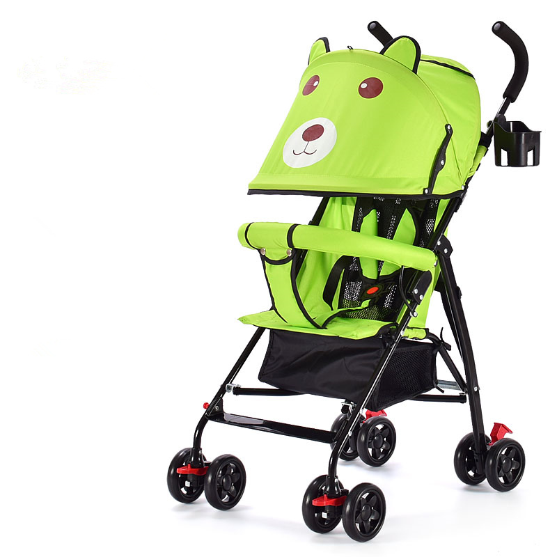 Cartoon Bear Design Portable Baby Stroller All Seasons 5 Colors Baby Carriage Pram Quality Four Wheels Infant Baby Strollers certified baby products baby buggy stroller with pad 600d oxford fabric kids pram and strollers 4 colors infant carriage on sale