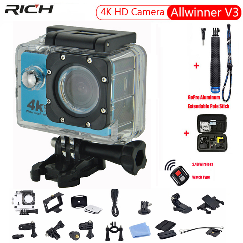 HOT Action Camera HD 4K 1080P G350R Remote Control WiFi 2.0 LCD 170D lens Helmet IPX8 Waterproof 30M Extreme Sport Camera