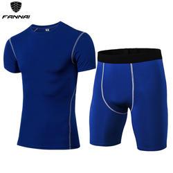 2019 Для мужчин сжатия костюмы для бега одежда спортивный костюм короткая футболка и штаны тренажерные залы Фитнес тренировочные трико