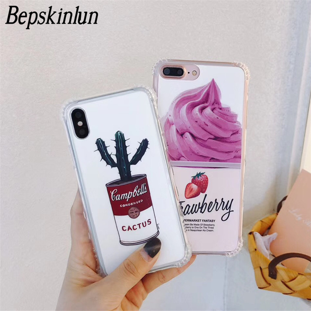 Bepskinlun Case For iPhone X 8 7 6 6S Plus Ice-cream Cactus Case Four Corners Anti Fall Matte Full Protective Back Cover